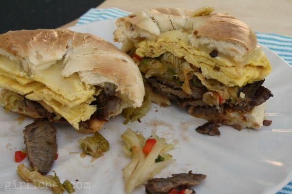 Steak & Egg Breakfast Sandwich w/ Kimchi {#SundaySupper: Breakfast for Dinner} | www.girlichef.com
