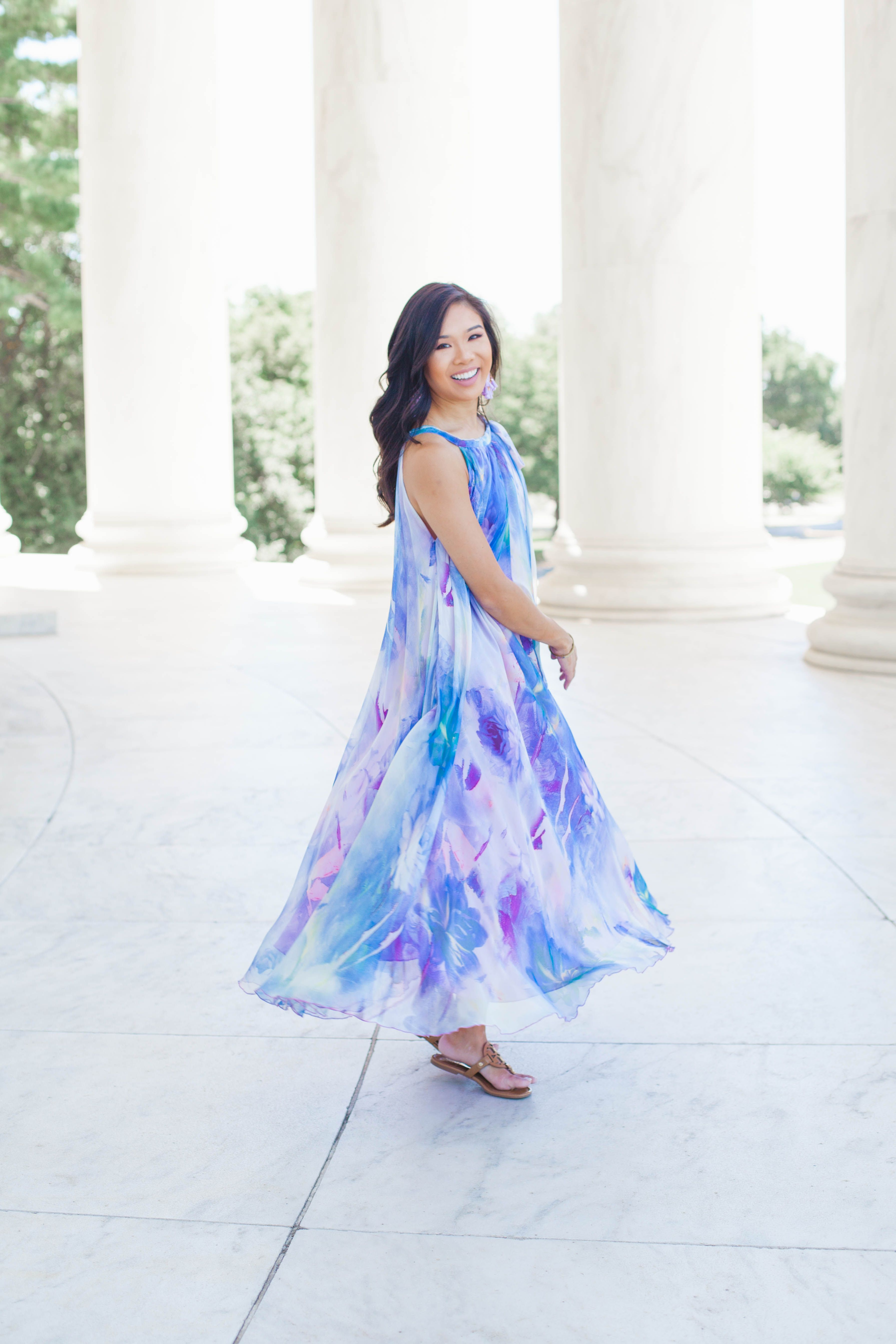 Summer Colors Watercolor Maxi Statement Earrings Color Chic Watercolor Dress Maxi Leggings Outfit Casual [ 5378 x 3586 Pixel ]