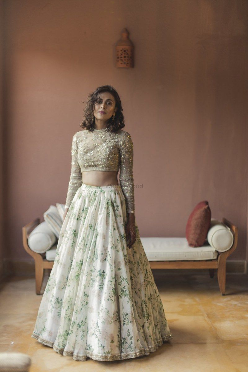 ace541278f Sabyasachi floral print off white lengha | Desi Girl Culture in 2019 ...
