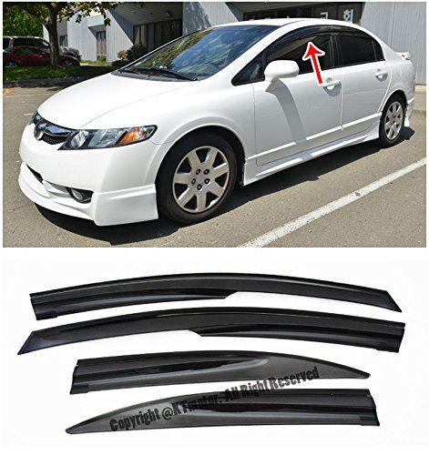Amazon Com For 06 11 Honda Civic 4dr Sedan Mugen Ll Style Tape On Side Vent Sun Shade Window Visors Rain Guard Deflectors 2006 20 Civic Car Parts Online Store