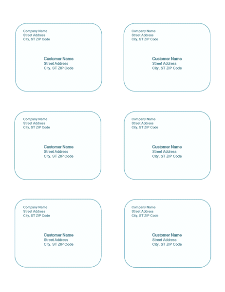 shipping labels blue background design 6 per page greeting card