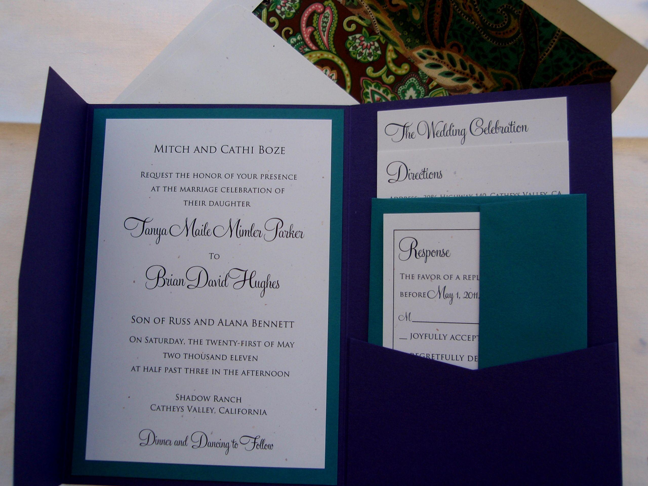 DIY Pocketfold Invitations Diy Wedding Invitation KitsCouture