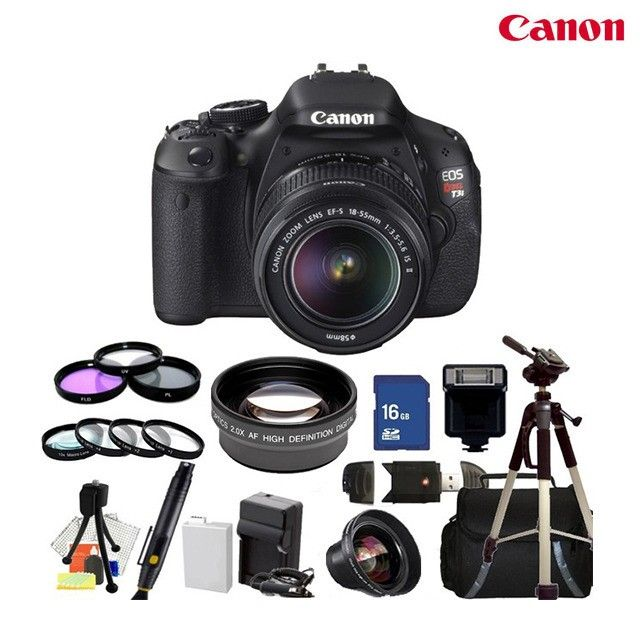 23-Piece Set: Canon EOS Rebel T3i 18MP DSLR Camera + EF-S 18-55mm IS II Lens Kit & Accessories