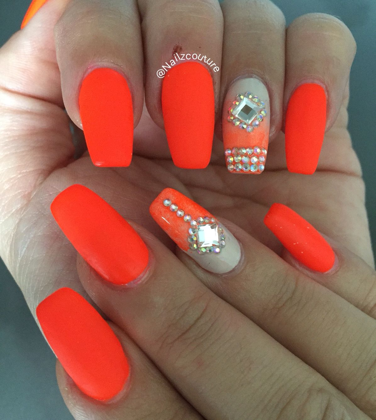 Orange neon nails | My nail art all hand painted | Pinterest