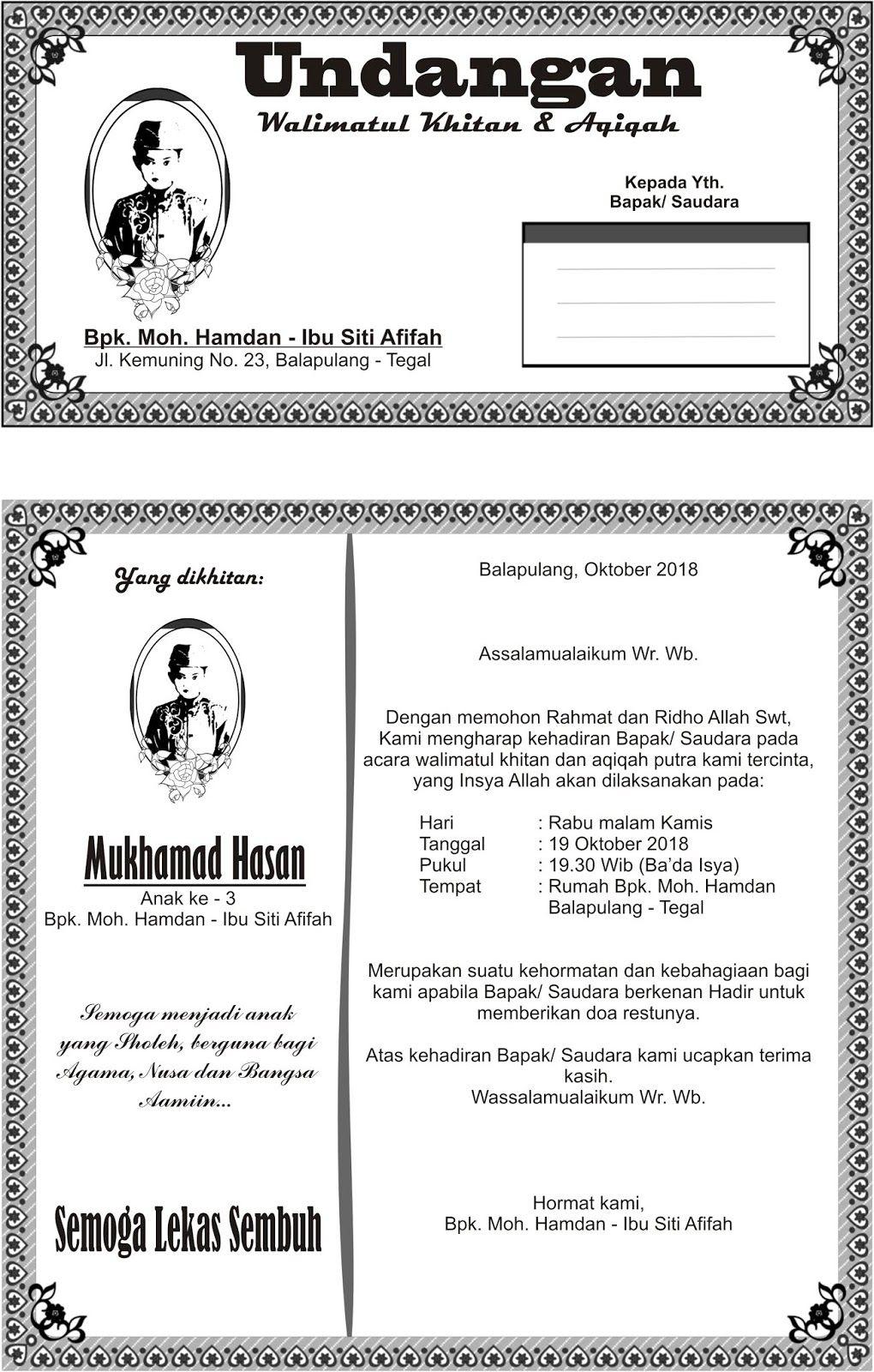 Undangan Walimatul Khitan dan Aqiqah Hamdan Undangan