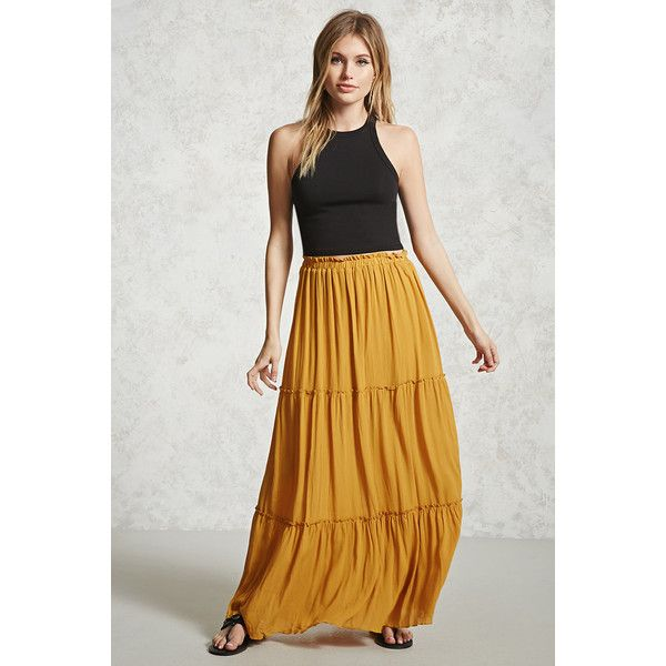 b0052c20df2a Forever21 Tiered Maxi Skirt ($20) ❤ liked on Polyvore featuring skirts,  mustard, mustard skirt, floor length skirt, tiered maxi skirts, tiered skirt  and ...