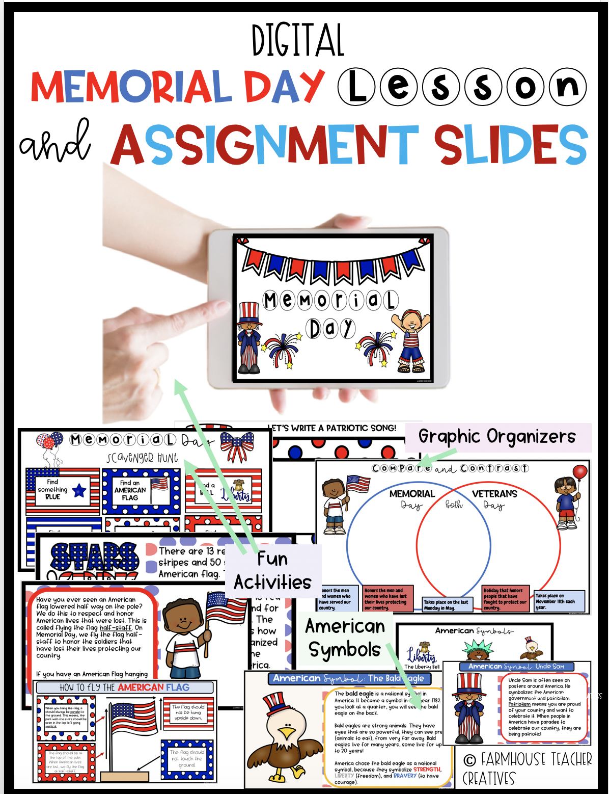 Digital Memorial Day Lesson and Flag Day Lesson - Assignment Slides Included