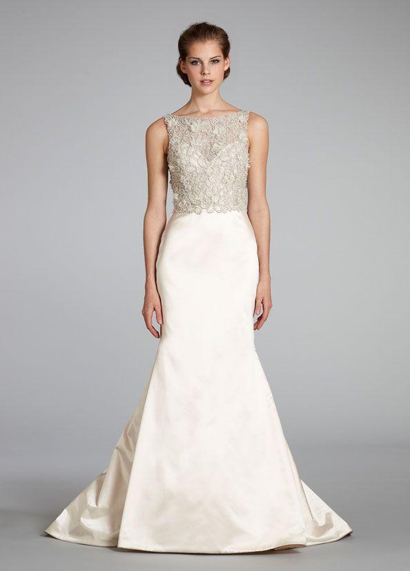 Blush silk faced satin trumpet bridal gown bateau floral for Jewel neckline wedding dress