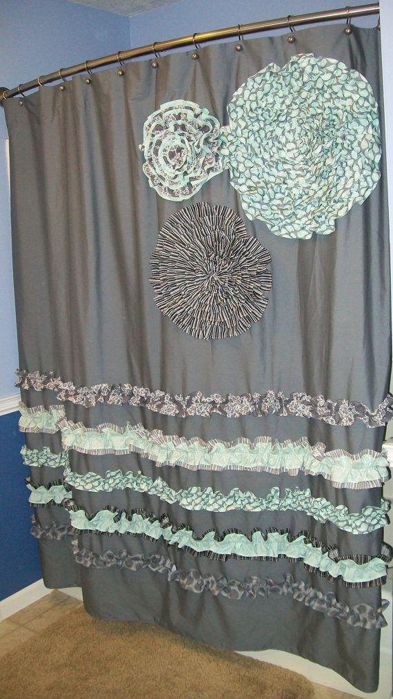 Shower Curtain Custom Made Ruffles And Flowers Designer Fabric Gray Black White Mint Light Teal Aqua Stunning Elegant