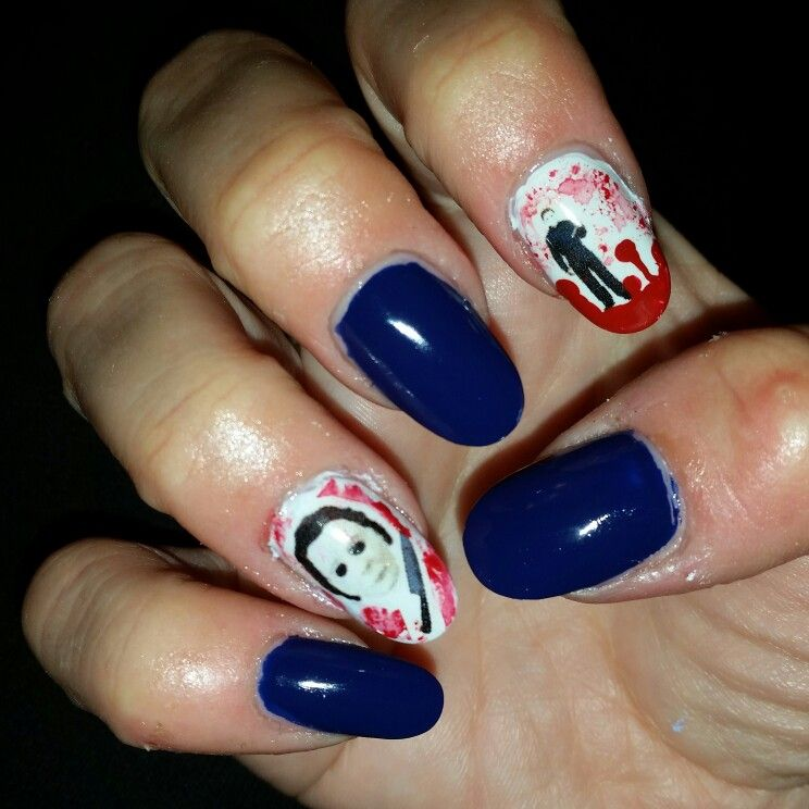 My Michael Myers nails | Nails, Pretty nails, Nail art