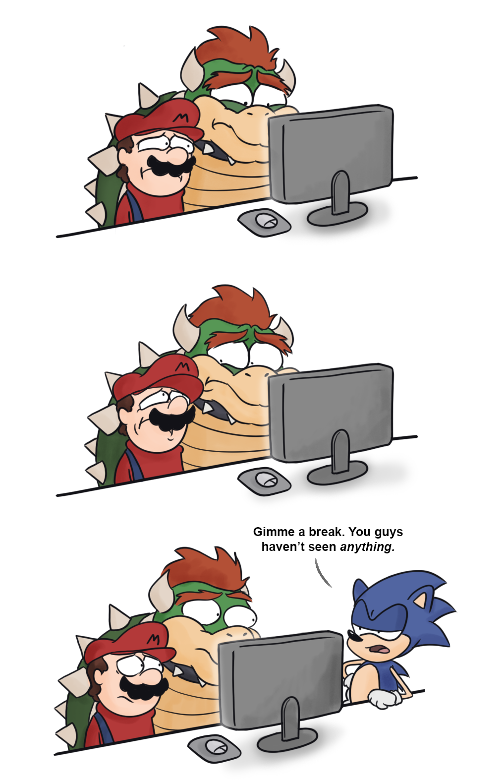 Bowser, Mario and Sonic's reaction to all the Super Crown