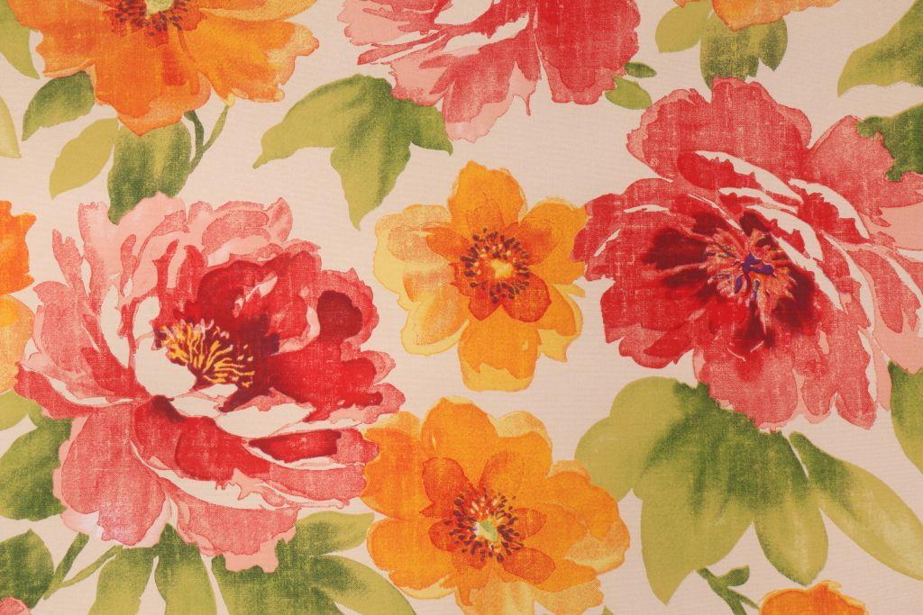 Richloom Muree Primerose Outdoor Fabric Orange Floral Fabric Yardage