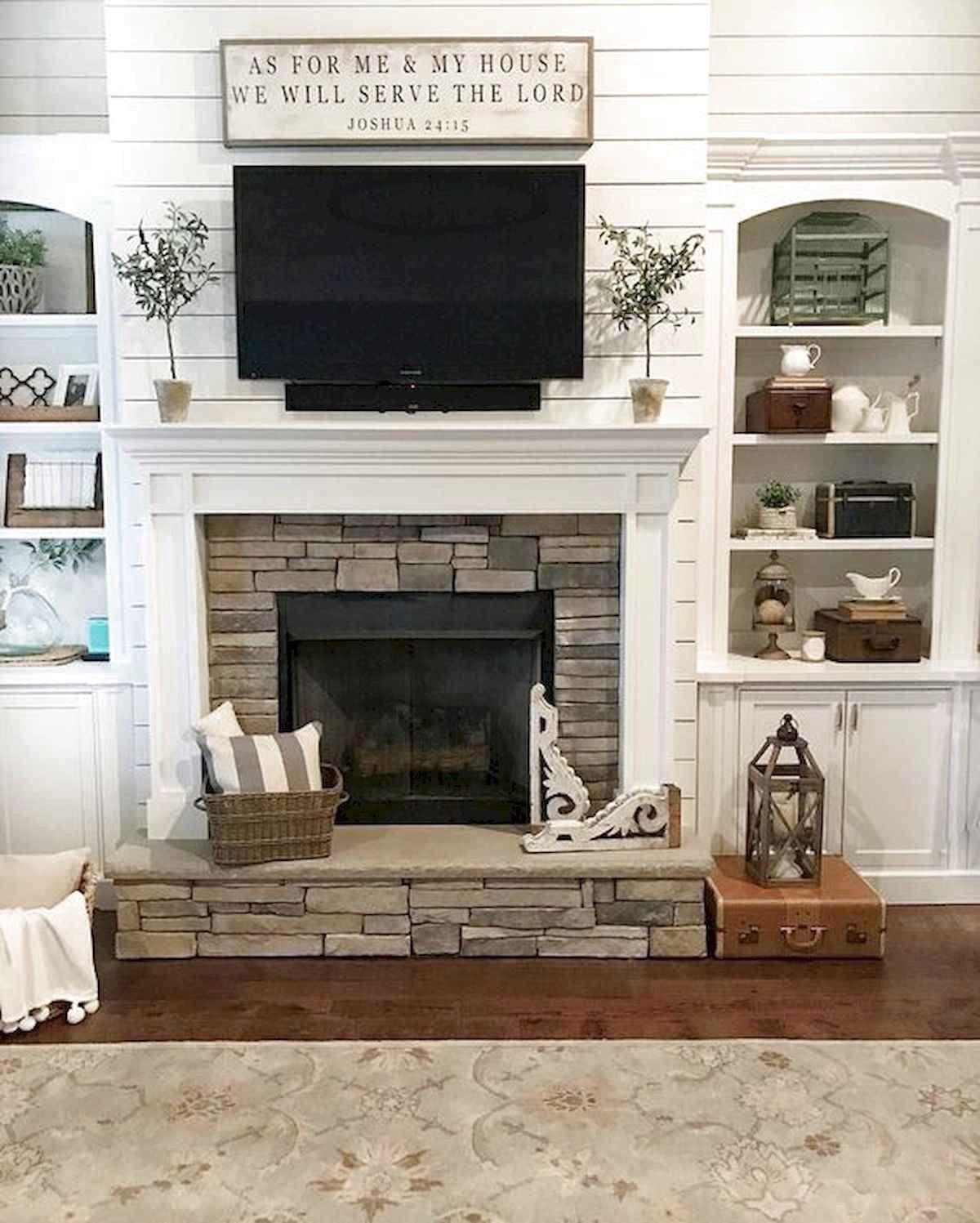 40 Best Modern Farmhouse Fireplace Mantel Decor Ideas 28 Farm House Living Room White Plank Walls Farmhouse Fireplace Mantels