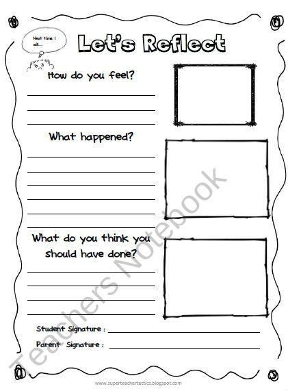 Reflection Sheet/ Behavior Management product from Super-Teacher - contract management spreadsheet