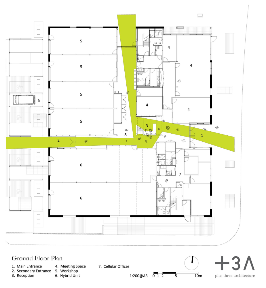 Gallery Of Green Incubator Plus Three Architecture 4 Architecture Architecture Project Ground Floor Plan