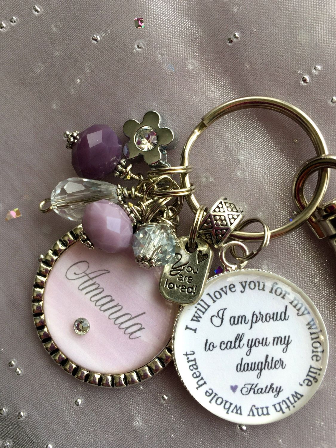 Personalized step daughter gift charm necklace keychain