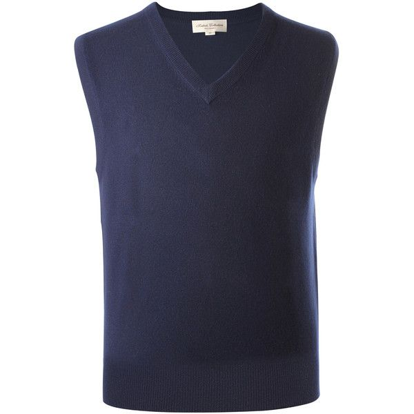 Mens Cashmere Sleeveless Sweater Vest Navy Blue ❤ liked on ...