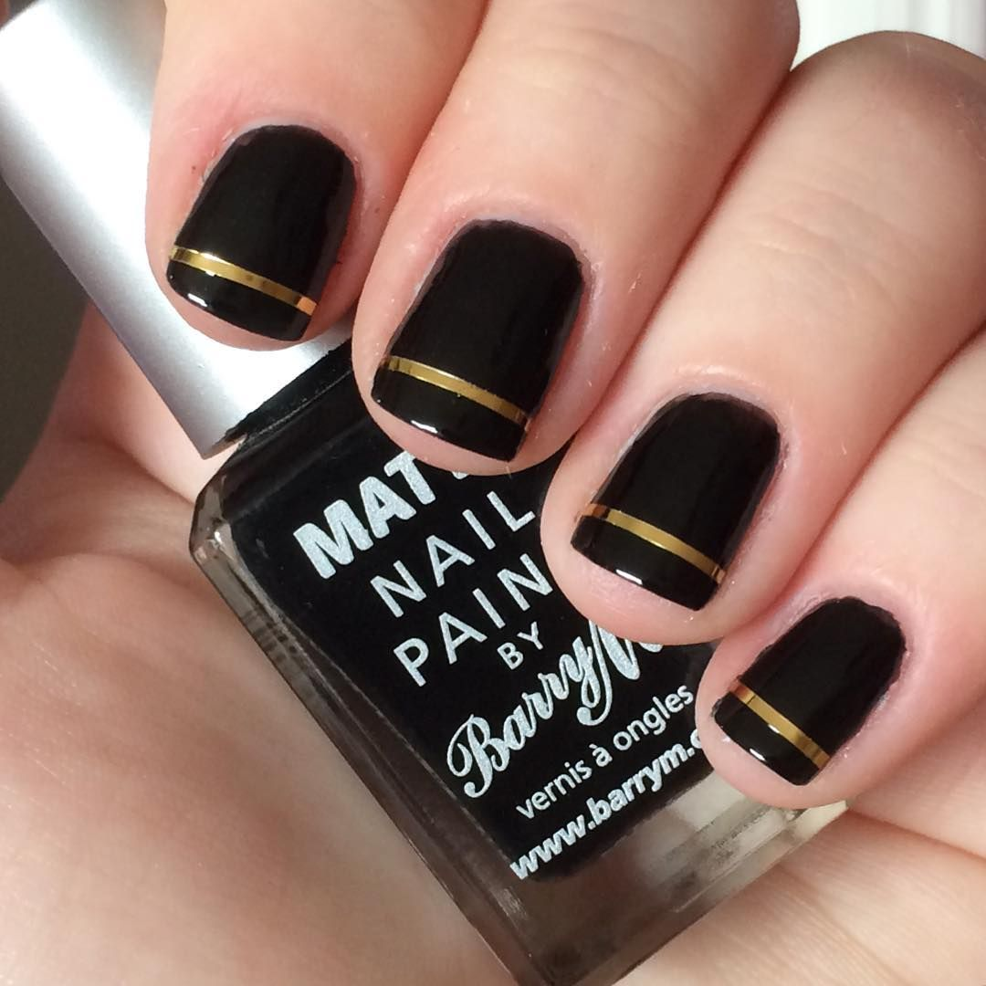 Nnmnails On Instagram Black And Gold Striping Tape Nail Art Nail