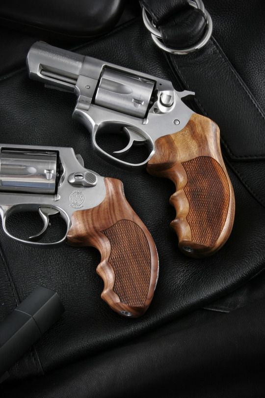 S&W J Frame and Ruger SP 101 with Hogue hardwood grips