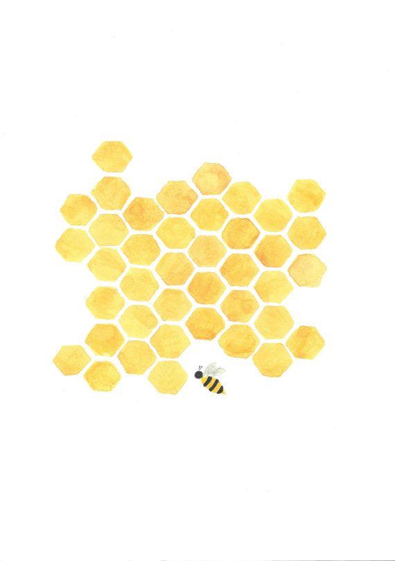 Printable Yellow Honeycomb Bee Painting Nursery By