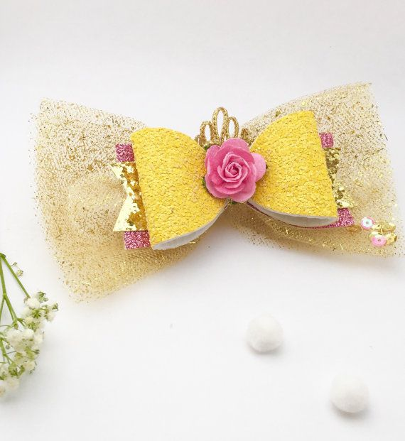 Princess Belle Hair Bow Belle Bow Princess Bow Belle Birthday Beauty and the Beast Bow Belle Party Princess Belle Princess Hair Bow