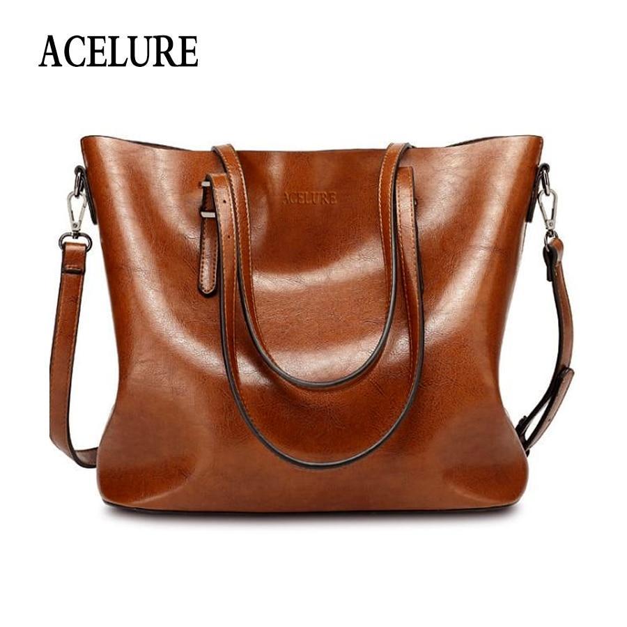 ACELURE Women Shoulder Bag Fashion Women Handbags Oil Wax Leather Large  Capacity Tote Bag Casual Pu Leather women Messenger bag 5e3b1bd427622