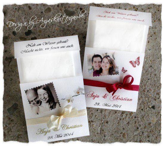 Taschentücher Hochzeit Freudentränen   Www.anjaskartenzauber.net  Gastgeschenke Einladungen Schokoladen Hochzeit Taufe Geburtstag