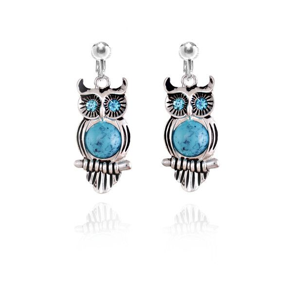 Blue Eyed Owl Clip On Earrings ($15) ❤ liked on Polyvore