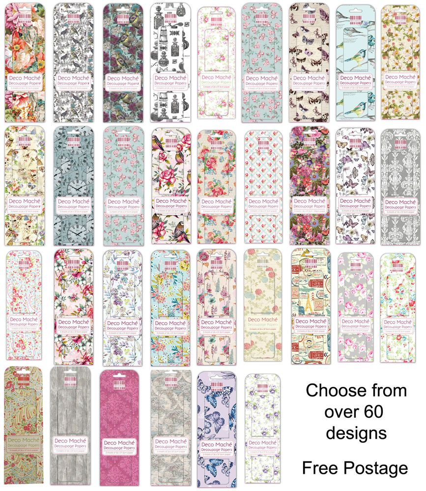 Deco Mache Paper Sheets ** First Edition ** 3 Sheets per pack ** Over 60 designs #FirstEditions #Decoupage