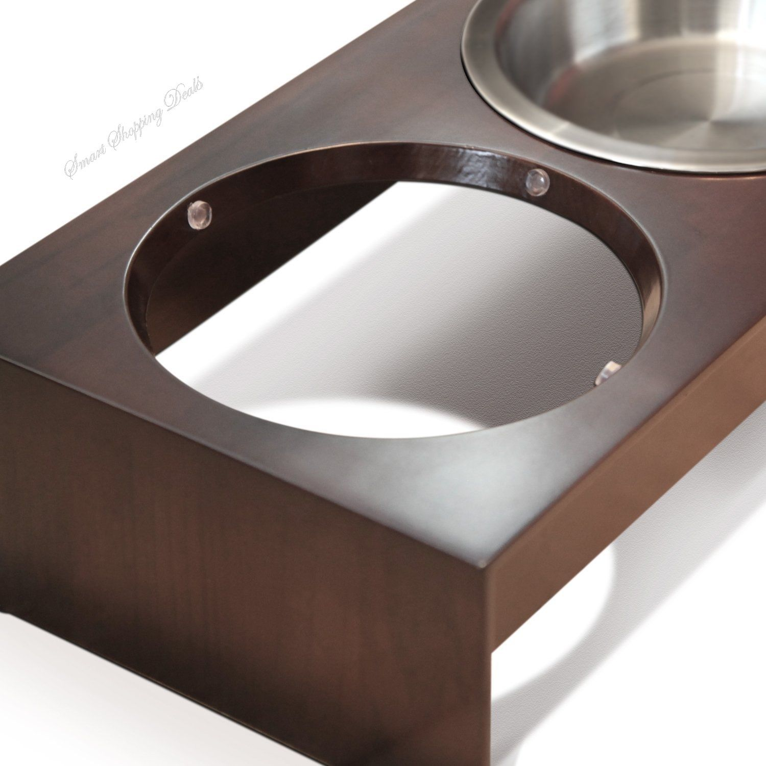 steel feeder elevated brown pawhut cat pet cm stainless