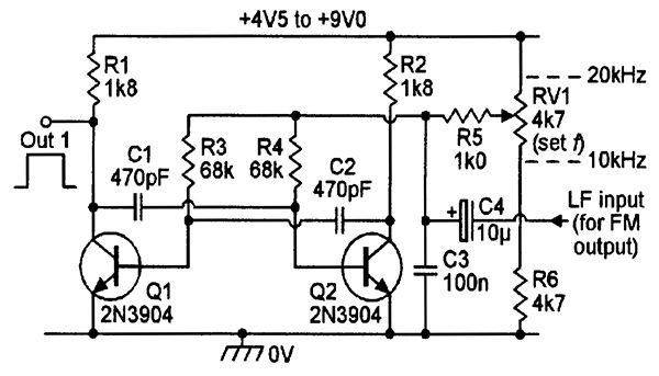 Astable with variable-frequency and FM facility