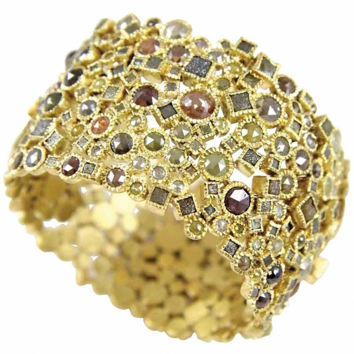 18-carat gold cuff bracelet with rose-cut diamonds and diamonds cubes by Todd Reed