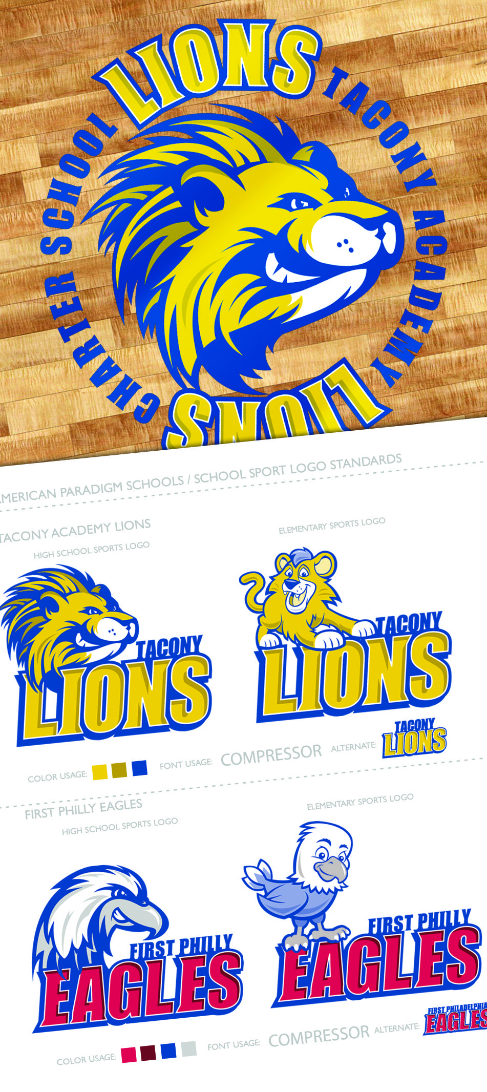 First Philadelphia Preparatory Charter School Eagles And Tacony Academy Lions Mascot Design Web Design Agency Mascot Design Fashionista Kids
