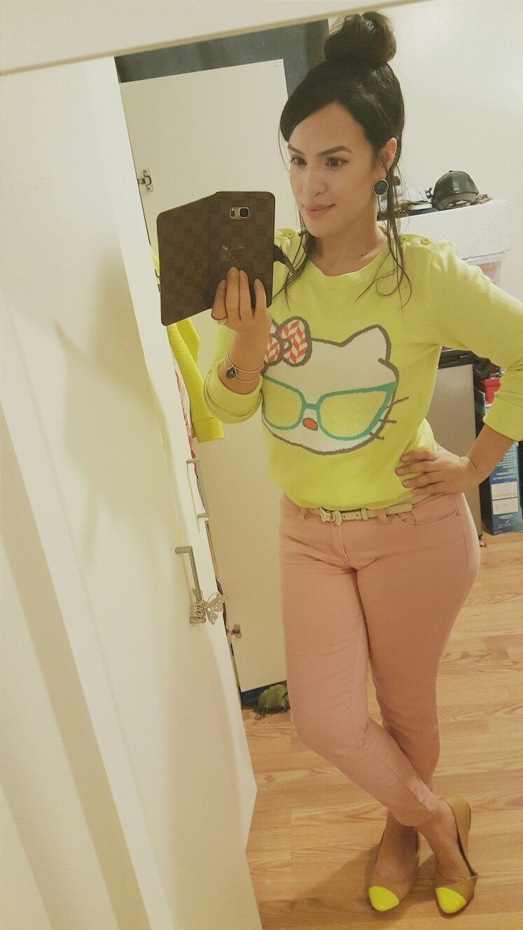 hello kitty, cintron, girly, yellow flats, pink pants, yellow