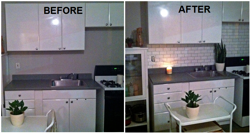 I created a Faux Subway Tile Backsplash using a brick stencil from ...
