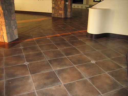 Spanish Floor Tile On Point With Accent Dots