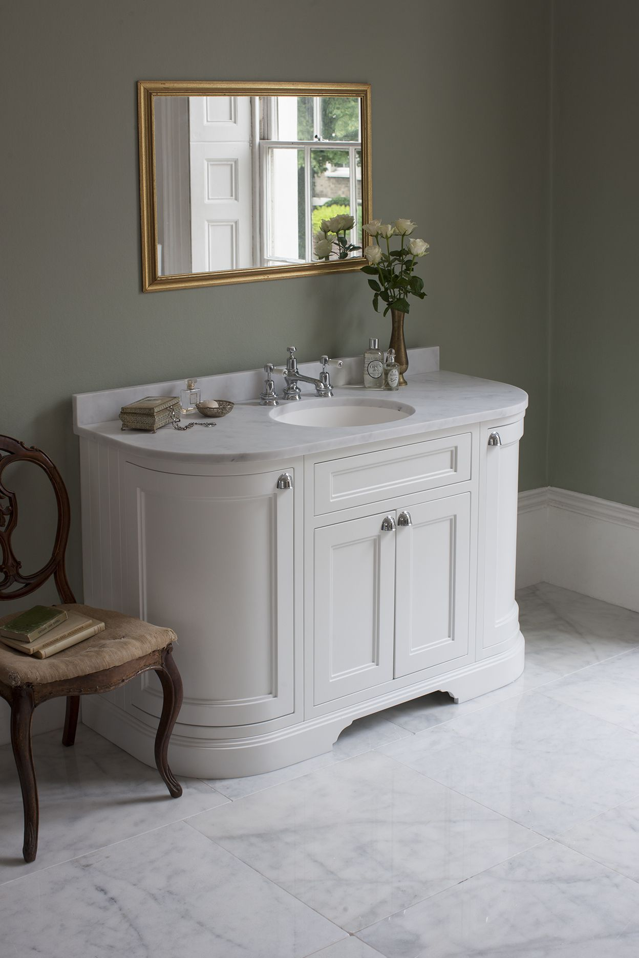 Freestanding 134 Curved Unit With Carrara White Worktop Drawers Integrated White Basin Matt White Sku Fc4w Bc13 Bathroom Vanity Units Freestanding Vanity Unit Vanity Units