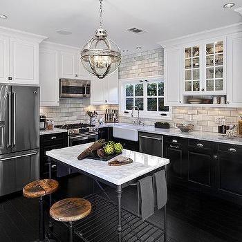 Kitchen Cabinets White Top Black Bottom White Upper Cabinets and Black Bottom Cabinets with French Island