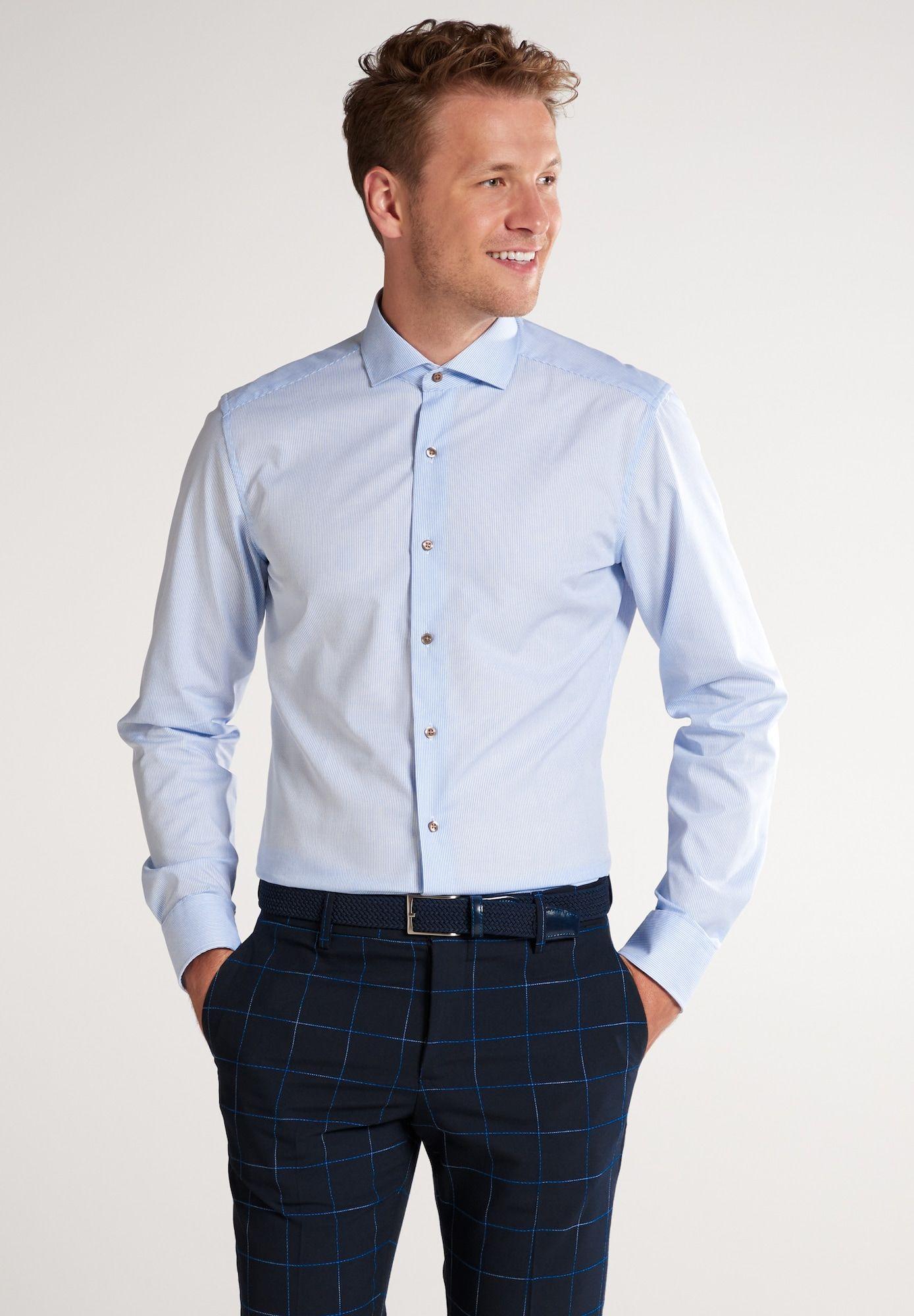 Eterna Hemd Herren Blau Grosse 44 Hemd Gestreifte Hemden Slim Fit