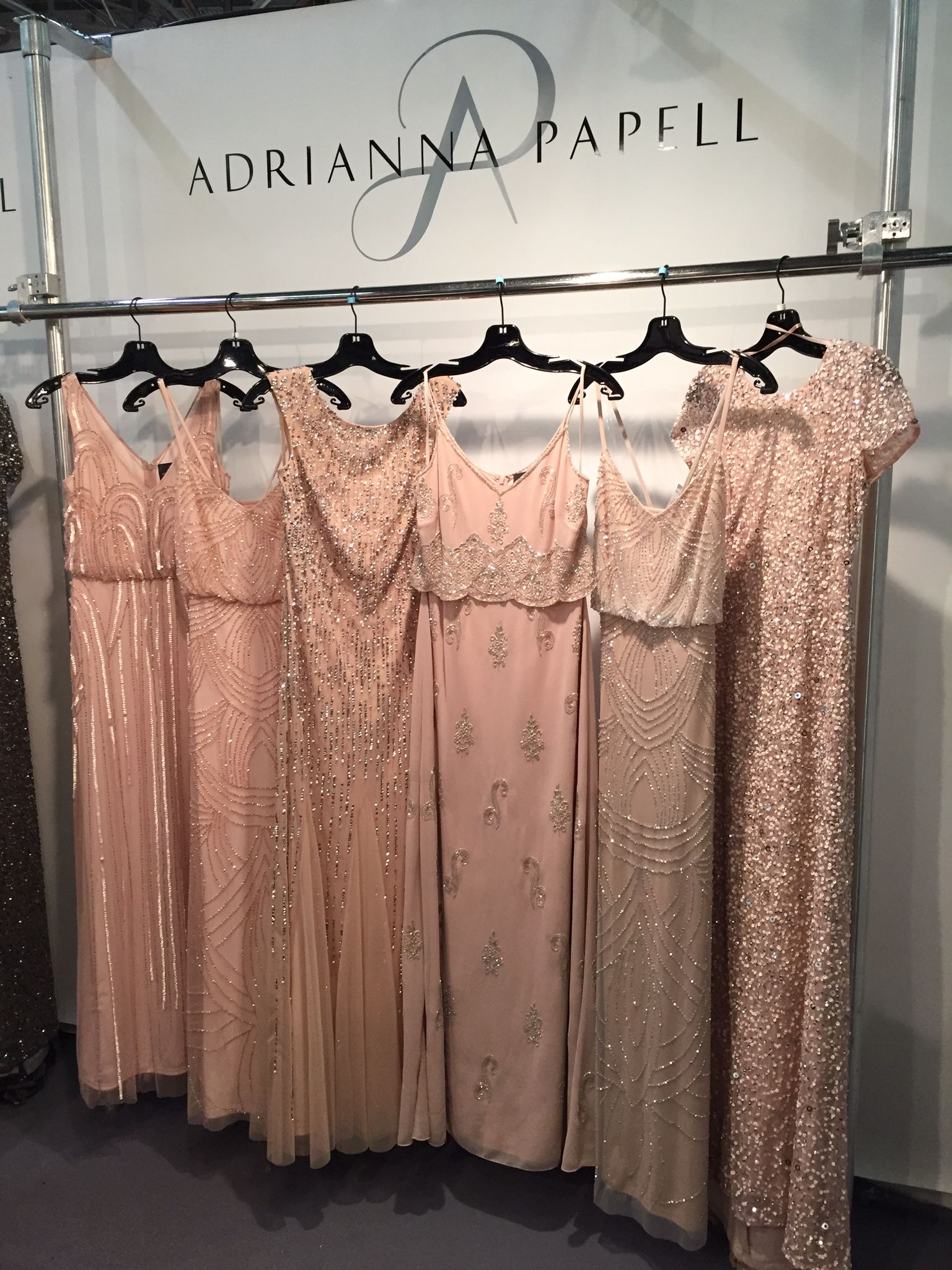 Adrianna Papell Varied Blush Beaded Dresses Wedding