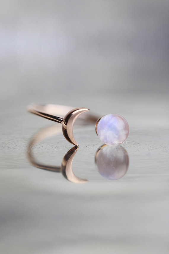 Photo of Raw Stone Ring Moonstone Ring Rose Gold Raw Gem Jewelry Celestial Jewelry Girlfriend Gift For Wife Unique Gifts For Women Crystal Ring
