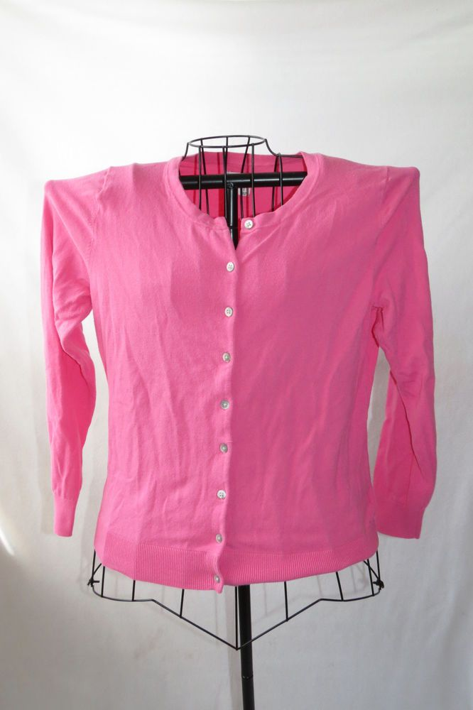 Womens Old Navy Light Pink Sweater Stretchy Crewneck Button Up ...