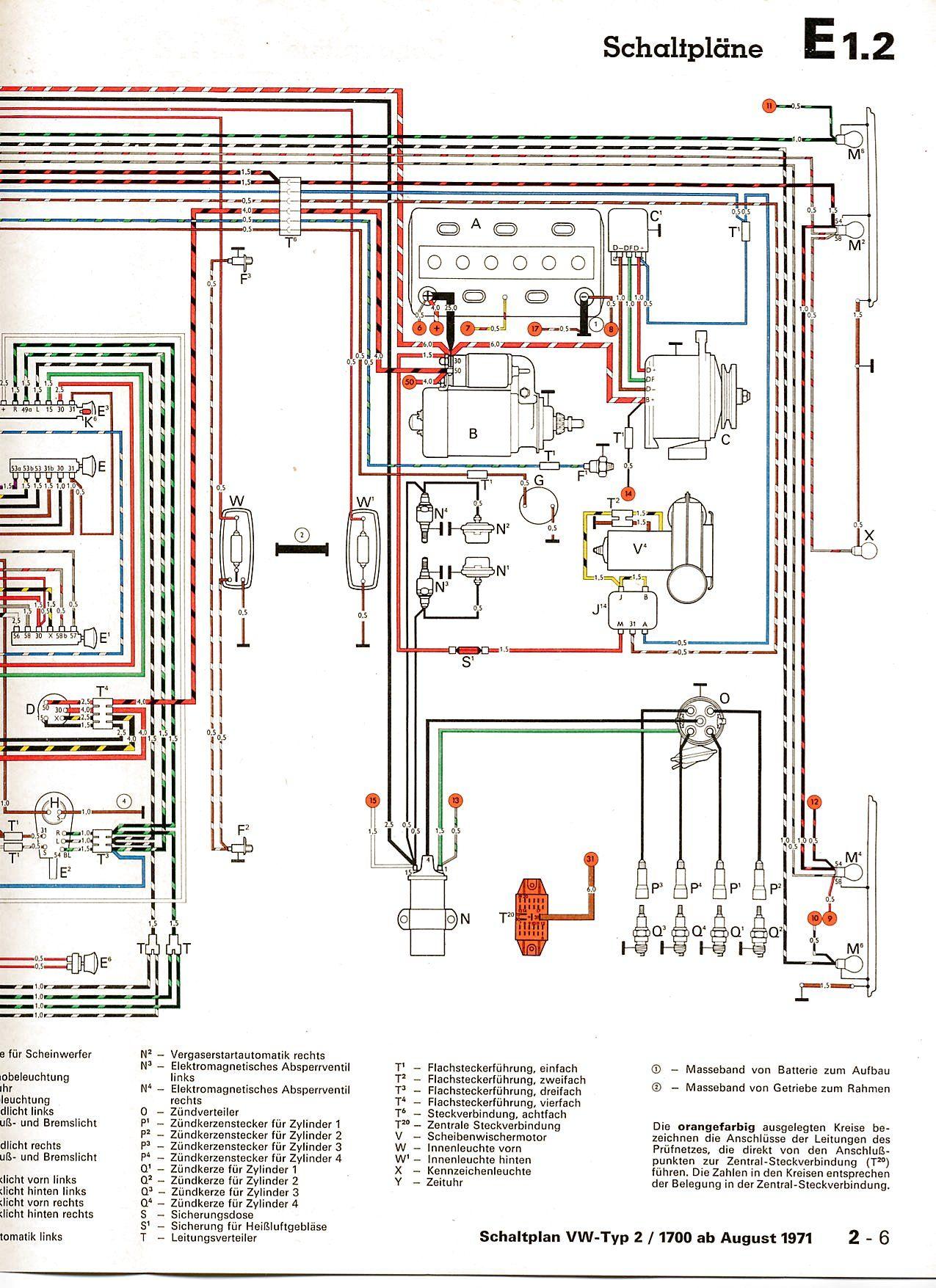 schéma électrique Baywindow Type 4 1700   VW Tech & Tools ...