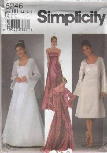 5246 Sewing Pattern Ladies Wedding Bridal Grad Prom Grad Prom Gown Dress 6-12