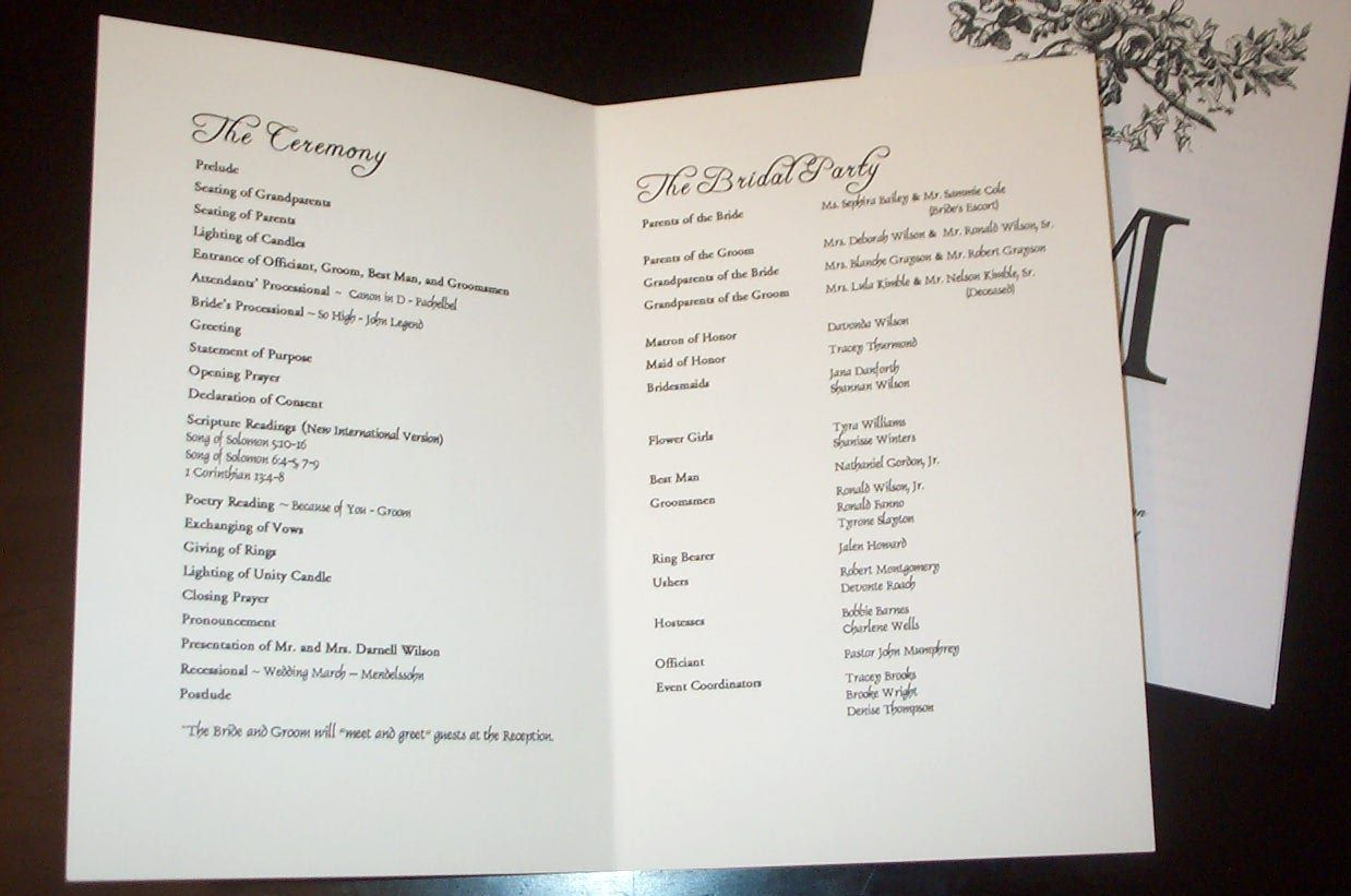 Wedding program templates sample wedding programs for Programs for wedding ceremony template