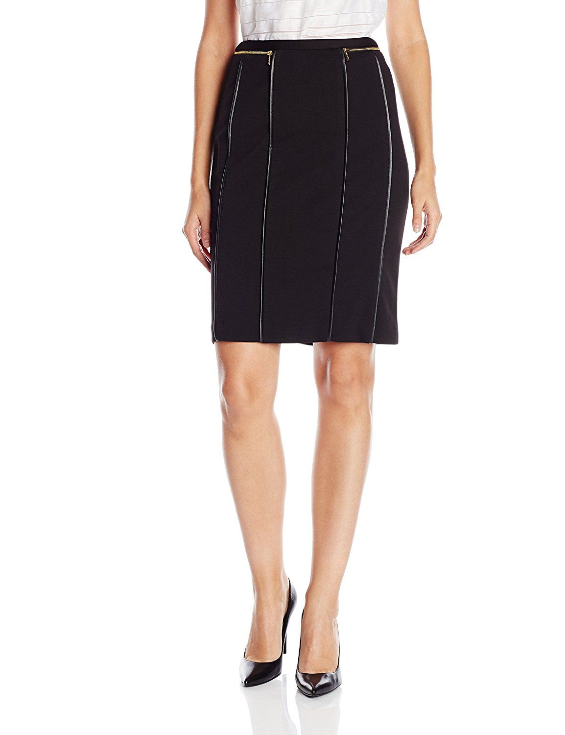 c05a4cc1b Calvin Klein Women's Pencil Skirt with Faux-Leather Piping >>> This is an  Amazon Affiliate link. You can get additional details at the image link.