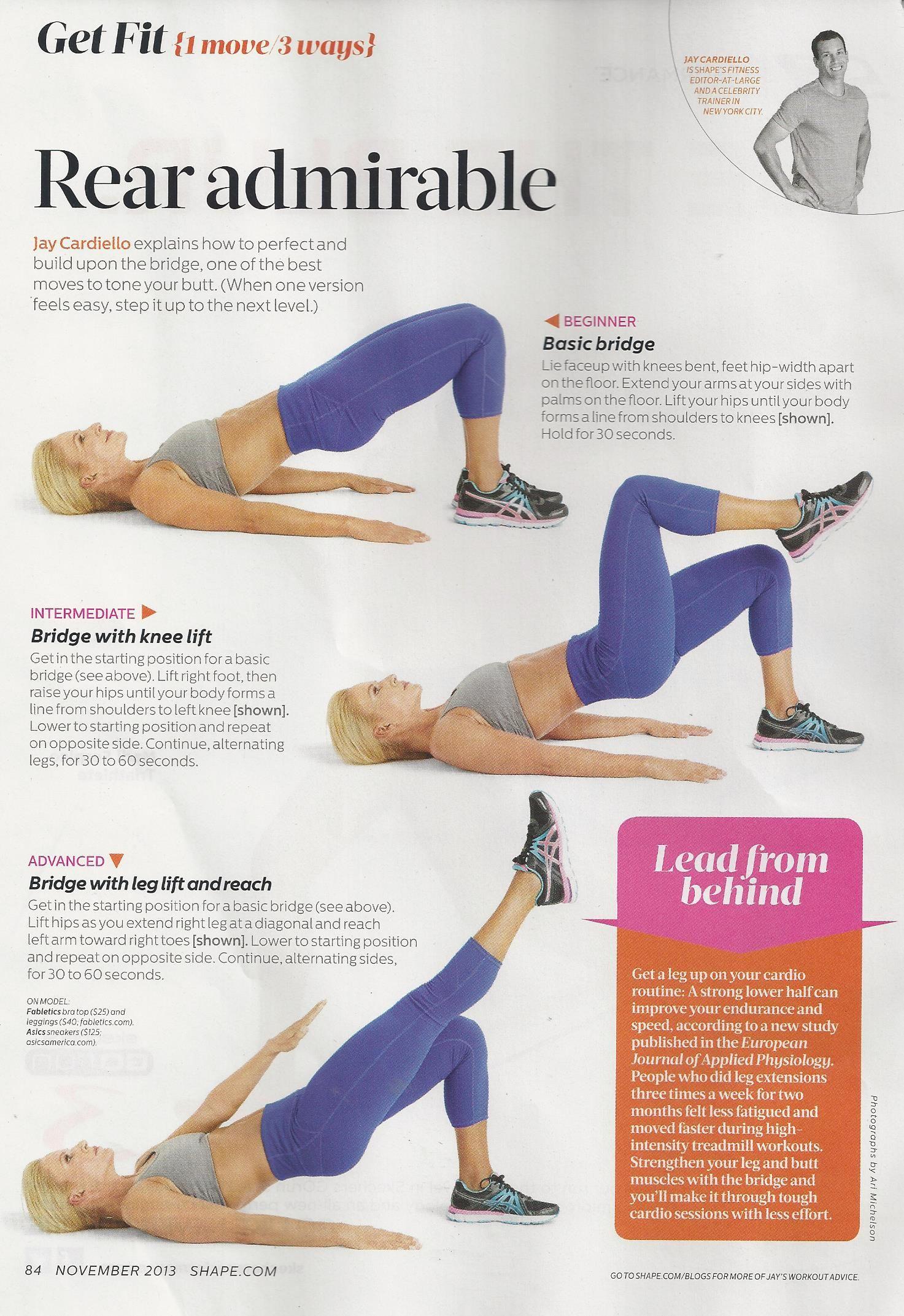The bridge workout from Jay Cardiello in Shape magazine  www
