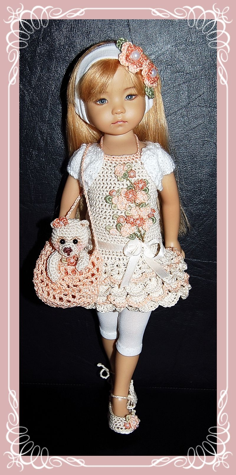 """Outfit for EFFNER LITTLE DARLING DOLL 13 """" + Shoes and Bear crocheted"""