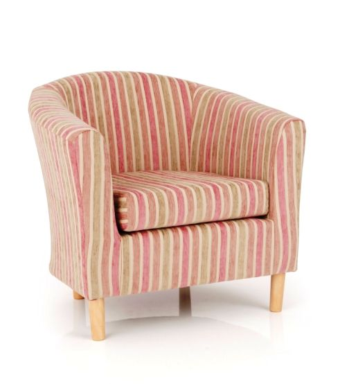 Lovely Windsor Upholstered Fabric Pink Stripe Tub Chair