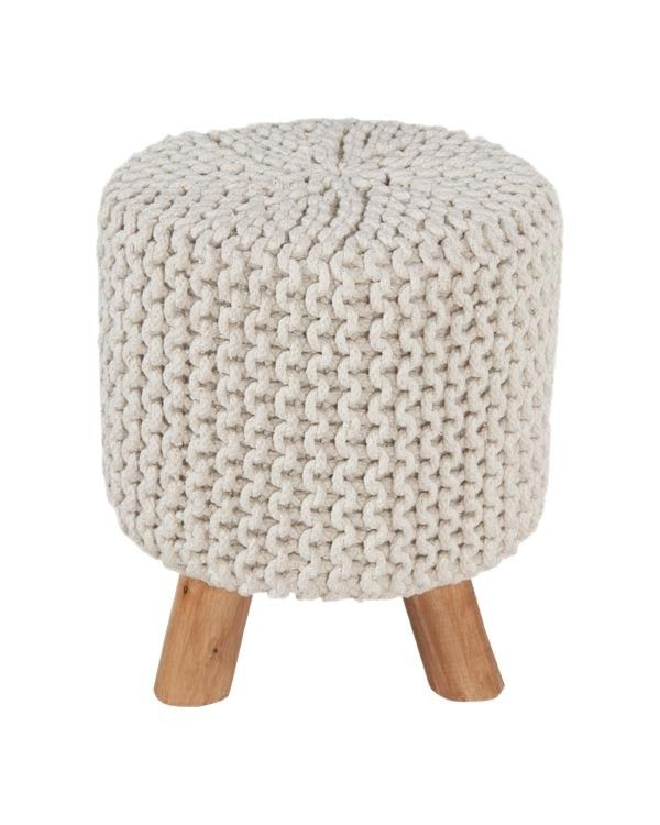 Fine Natural Cotton Knitted Tall Footstool With Legs Homescapes Frankydiablos Diy Chair Ideas Frankydiabloscom